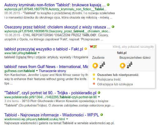 Wygląd wyszukiwarki google podczas używania Web of Trust