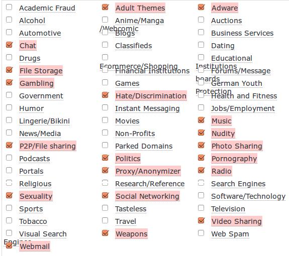 Strona z kategoriami do blokowania